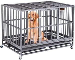 grey heavy duty dog crate with dog inside the crate